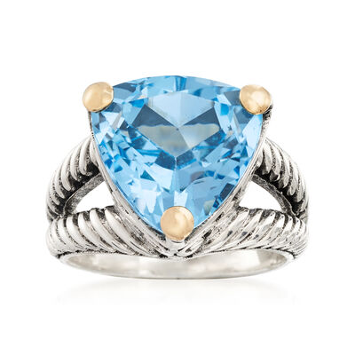 12.00 Carat Blue Topaz Twisted Ring in Sterling Silver and 18kt Yellow Gold