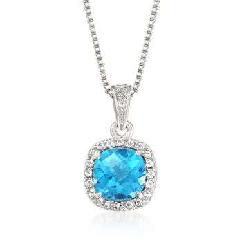 "1.20 ct. t.w. Blue and White Topaz Pendant Necklace in Sterling Silver. 18"", , default"