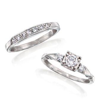 C. 1950 Vintage .63 ct. t.w. Diamond Bridal Set: Engagement and Wedding Ring in Platinum. Size 6.5, , default