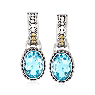 14.00 ct. t.w. Sky Blue Topaz J-Hoop Earrings in Sterling Silver and 18kt Yellow Gold, , default
