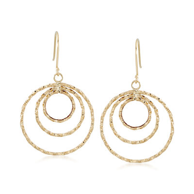 18kt Yellow Gold Circle Drop Earrings