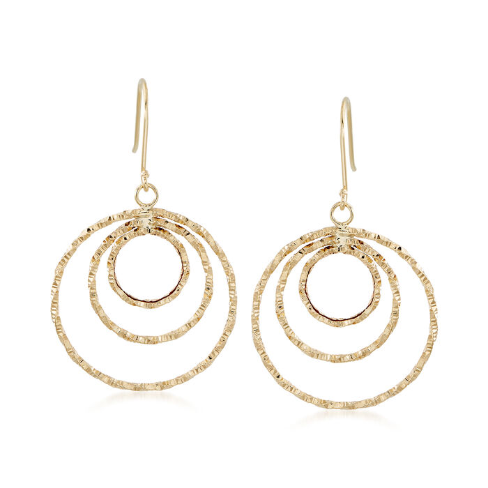 18kt Yellow Gold Circle Drop Earrings., , default
