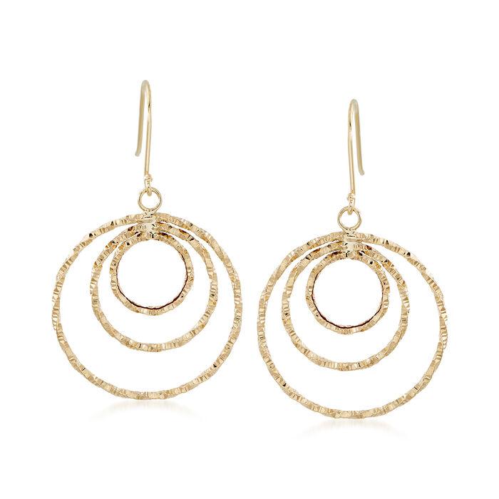 18kt Yellow Gold Circle Drop Earrings.