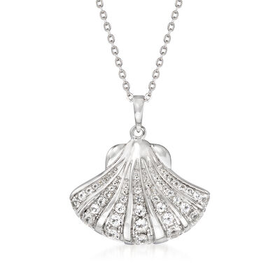 .75 ct. t.w. White Topaz Seashell Pendant Necklace in Sterling Silver