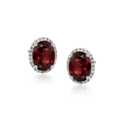 4.05 ct. t.w. Garnet Stud Earrings with .10 ct. t.w. Diamonds in 14kt White Gold, , default