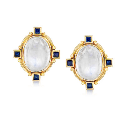 Mazza Moonstone and .96 ct. t.w. Sapphire Earrings in 14kt Yellow Gold, , default