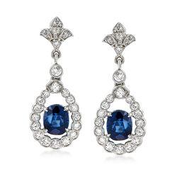 C. 1990 Vintage 1.80 ct. t.w. Sapphire and 1.00 ct. t.w. Diamond Open-Teardrop Earrings in 18kt White Gold , , default