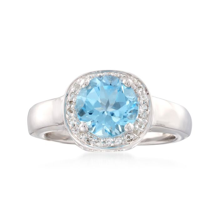 2.20 ct. t.w. Blue and White Topaz Halo Ring in Sterling Silver, , default