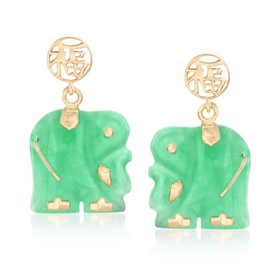 "Green Jade ""Lucky Fortune"" Chinese Symbol and Elephant Drop Earrings in 14kt Yellow Gold"