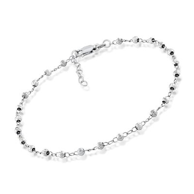 3mm Sterling Silver Diamond-Cut Bead Station Anklet, , default
