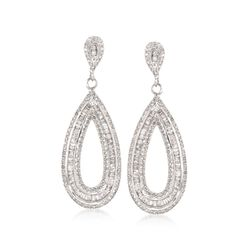1.48 ct. t.w. Baguette and Round Diamond Teardrop Earrings in 14kt White Gold, , default