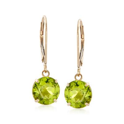 3.90 ct. t.w. Peridot Drop Earrings in 14kt Yellow Gold, , default
