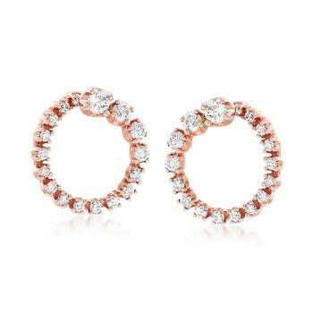 .50 ct. t.w. Diamond Open Circle Earrings in 14kt Rose Gold , , default