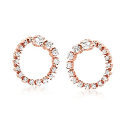 .50 ct. t.w. Diamond Open Circle Earrings in 14kt Rose Gold, , default