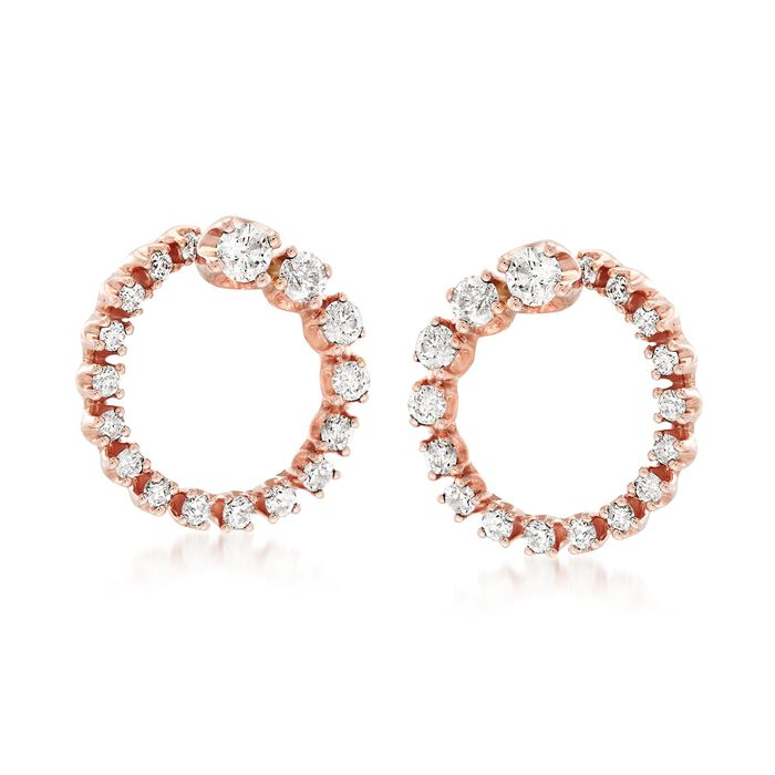 .50 ct. t.w. Diamond Open Circle Earrings in 14kt Rose Gold , , default