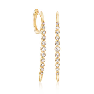 .51 ct. t.w. Bezel-Set Diamond Linear Earrings in 14kt Yellow Gold, , default