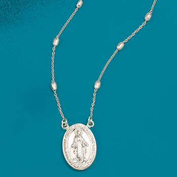 Italian Sterling Silver Miraculous Medal Beaded Station Necklace