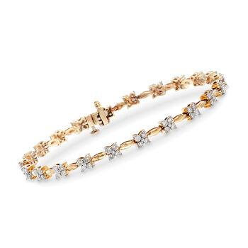 2.00 ct. t.w. Diamond Flower Bracelet in 14kt Yellow Gold, , default