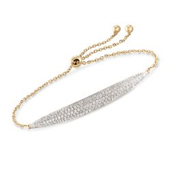 1.00 ct. t.w. Pave Diamond Curved Bar Bolo Bracelet in 18kt Yellow Gold, , default