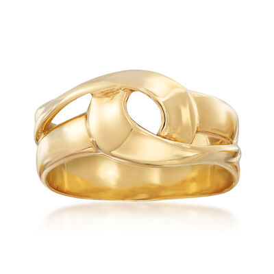 Italian 18kt Yellow Gold Open-Space Ribbon Ring, , default