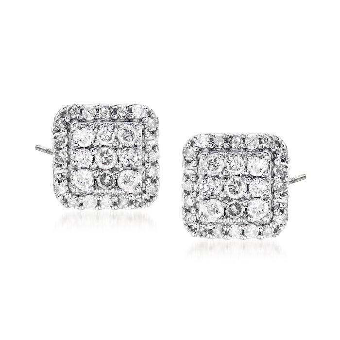 .50 ct. t.w. Diamond Square-Shaped Stud Earrings in Sterling Silver, , default