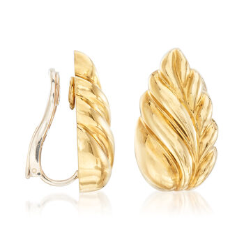 C. 1980 Vintage Tiffany Jewelry 18kt Yellow Gold Clip-On Leaf Earrings