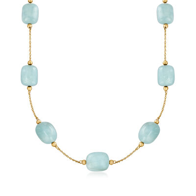 C. 1990 Vintage 52.50 ct. t.w. Aquamarine Bead Station Necklace in 14kt Yellow Gold