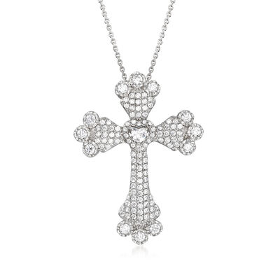 3.80 ct. t.w. CZ Cross Pendant Necklace in Sterling Silver, , default