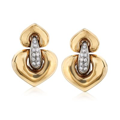 C. 1980 Vintage .55 ct. t.w. Diamond Heart-Shaped Doorknocker Earrings in 18kt Yellow Gold