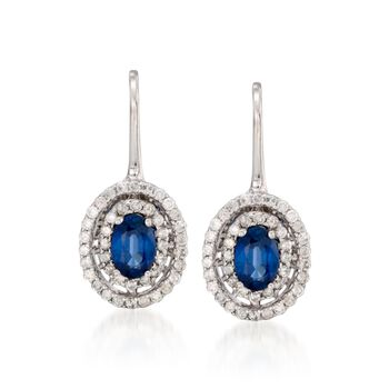 1.20 ct. t.w. Sapphire and .55 ct. t.w. Diamond Earrings in 14kt White Gold, , default