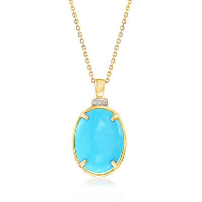 Stabilized Turquoise Pendant Necklace with Diamond Accents in 14kt Yellow Gold, , default