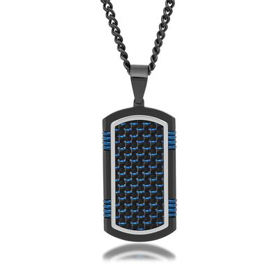 Men's Black and Blue Stainless Steel and Carbon Fiber Dog Tag Pendant Necklace, , default