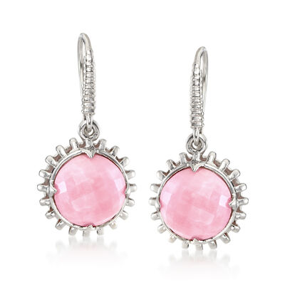 10mm Pink Opal Drop Earrings in Sterling Silver, , default