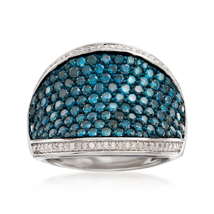 2.00 ct. t.w. Blue and White Diamond Dome Ring in Sterling Silver