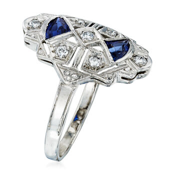 C. 1990 Vintage .25 ct. t.w. Sapphire and .15 ct. t.w. Diamond Ring in Platinum. Size 5.5, , default