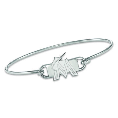 """Sterling Silver MLB Miami Marlins Small Center Wire Bangle Bracelet. 7"""", , default"""