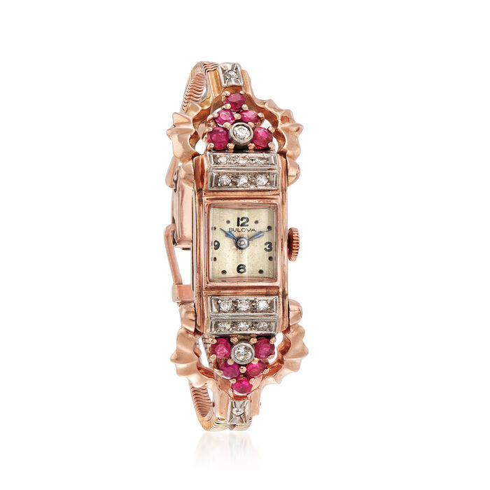 C. 1940 Vintage Bulova Women's 1.20 ct. t.w. Ruby and .50 ct. t.w. Diamond 13mm Watch in 14kt Rose Gold. Size 6, , default