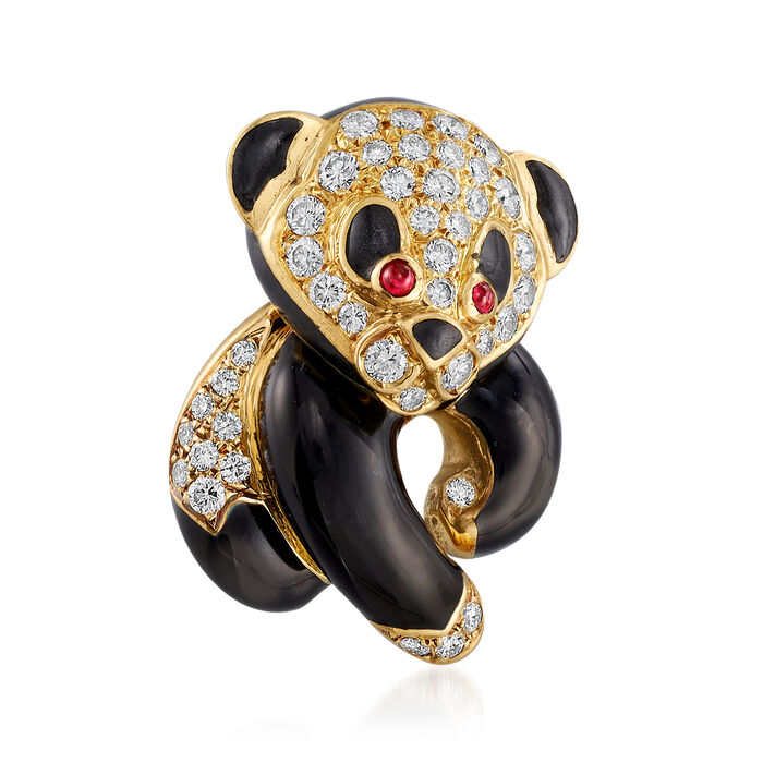 C. 1980 Vintage 1.30 ct. t.w. Diamond and Black Enamel Panda Pin with Ruby Accents in 18kt Yellow Gold