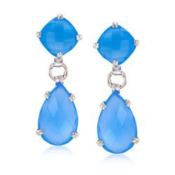 Blue Chalcedony Double Drop Earrings in Sterling Silver , , default