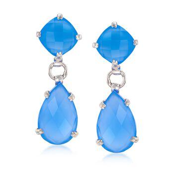 Blue Chalcedony Double Drop Earrings in Sterling Silver , , default