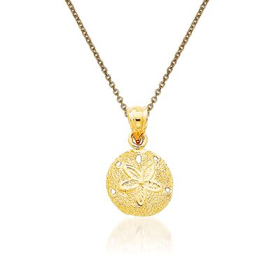 14kt Yellow Gold Sand Dollar Pendant Necklace
