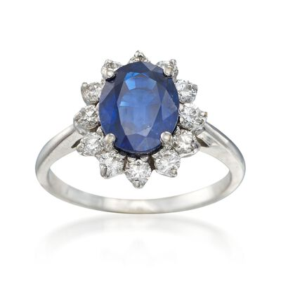 C. 1990 Vintage 2.35 Carat Sapphire and .50 ct. t.w. Diamond Ring in 18kt White Gold, , default