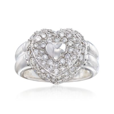 C. 1990 Vintage .80 ct. t.w. Pave Diamond Heart Ring in 18kt White Gold, , default