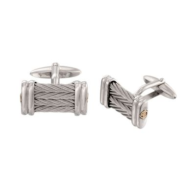 ALOR Men's Stainless Steel Cable Cuff Links with 18kt Yellow Gold, , default