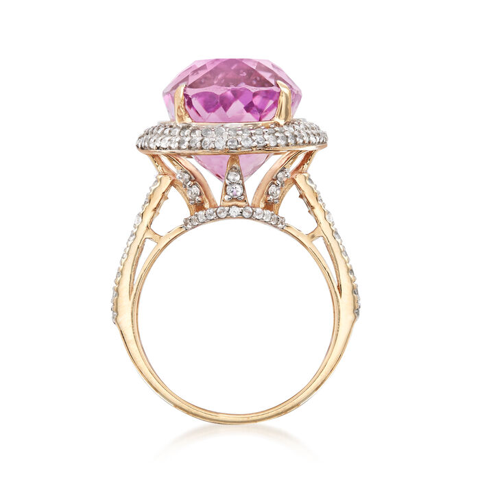 20.00 Carat Kunzite and 1.70 ct. t.w. White Zircon Ring in 14kt Yellow Gold