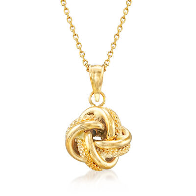Italian Love Knot Pendant Necklace in 18kt Yellow Gold, , default