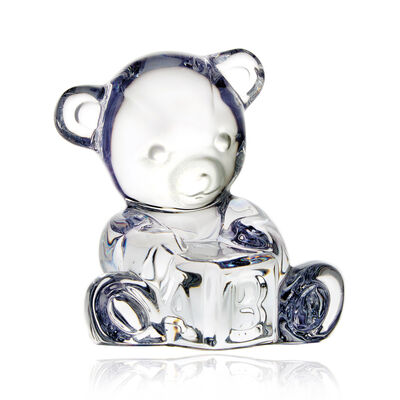 "Waterford Crystal ""Giftology"" Baby Bear with Block Figurine"