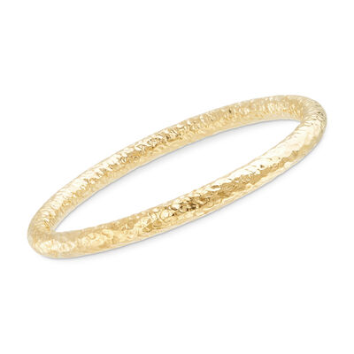 Italian 18kt Yellow Gold Over Sterling Silver Hammered Bangle Bracelet, , default