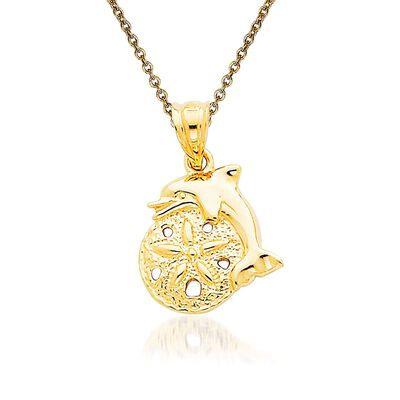 14kt Yellow Gold Sand Dollar Pendant Necklace, , default