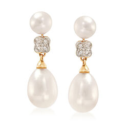 6-6.5mm and 8.5-9mm Cultured Pearl Drop Earrings With Diamond Accents in 14kt Yellow Gold, , default